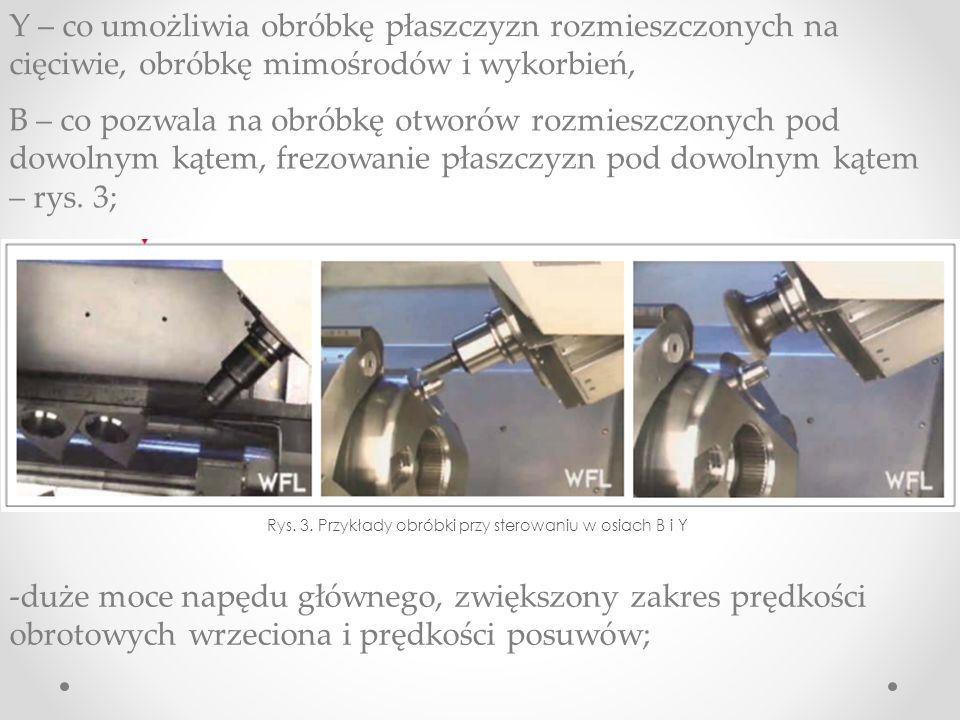 Rys. 3. Przykłady obróbki przy sterowaniu w osiach B i Y
