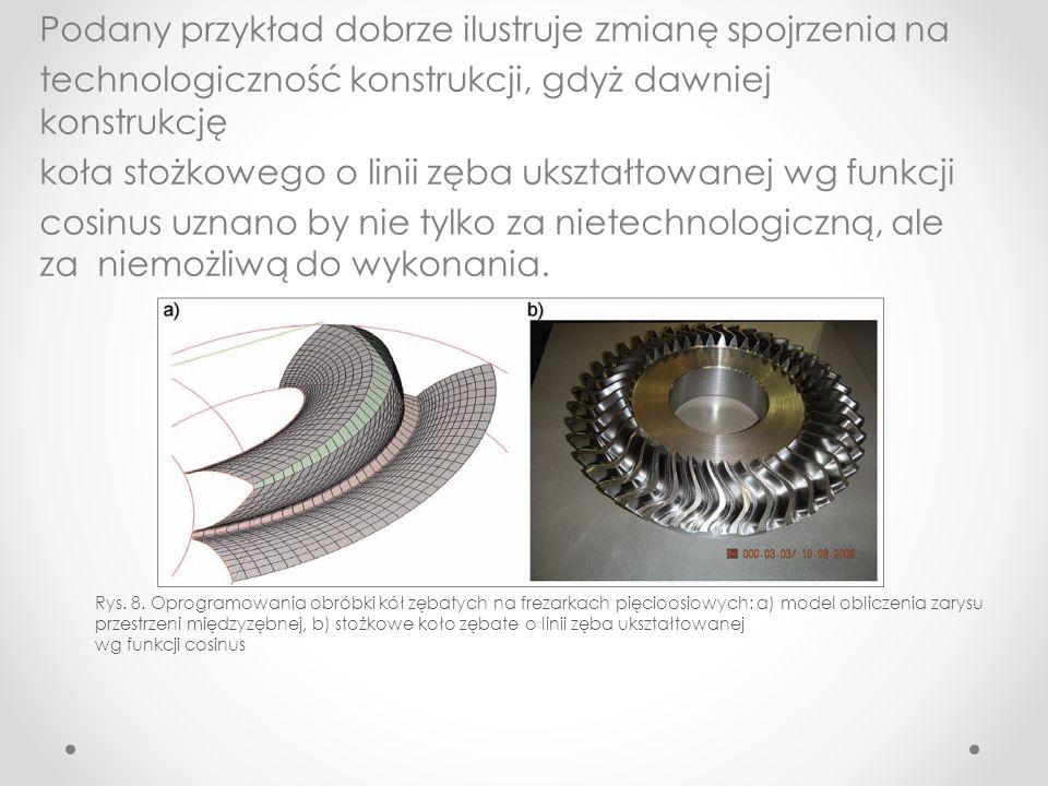 Podany przykład dobrze ilustruje zmianę spojrzenia na technologiczność konstrukcji, gdyż dawniej konstrukcję koła stożkowego o linii zęba ukształtowanej wg funkcji cosinus uznano by nie tylko za nietechnologiczną, ale za niemożliwą do wykonania.