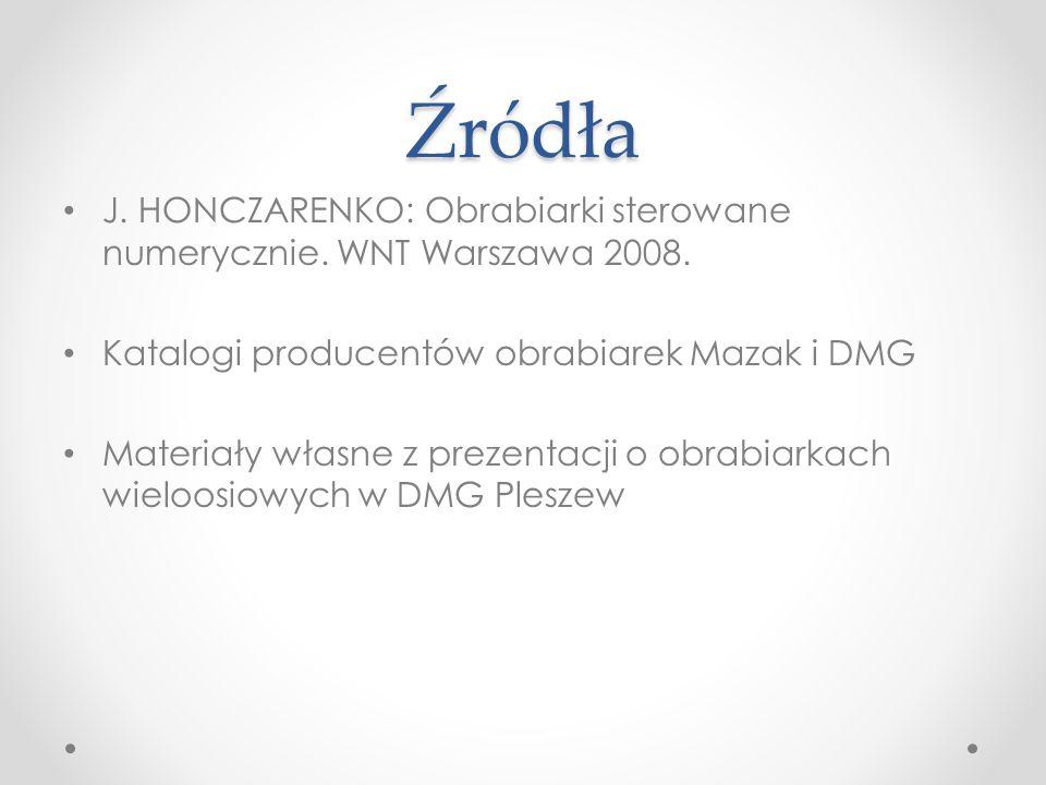 Źródła J. HONCZARENKO: Obrabiarki sterowane numerycznie. WNT Warszawa 2008. Katalogi producentów obrabiarek Mazak i DMG.