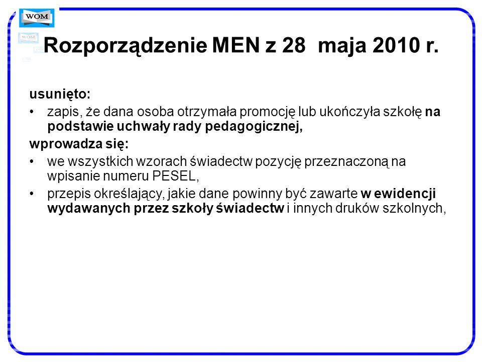 Rozporządzenie MEN z 28 maja 2010 r.