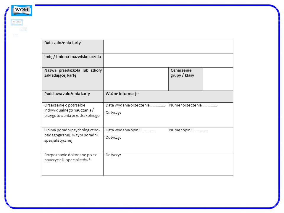 Data założenia kartyImię / imiona i nazwisko ucznia. Nazwa przedszkola lub szkoły zakładającej kartę.