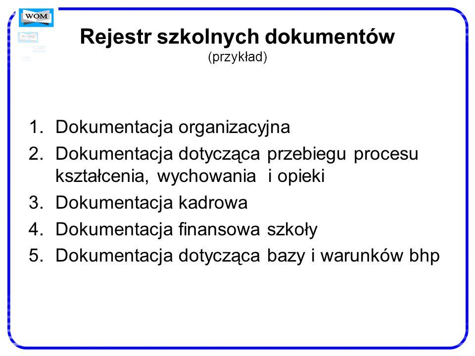 Rejestr szkolnych dokumentów (przykład)