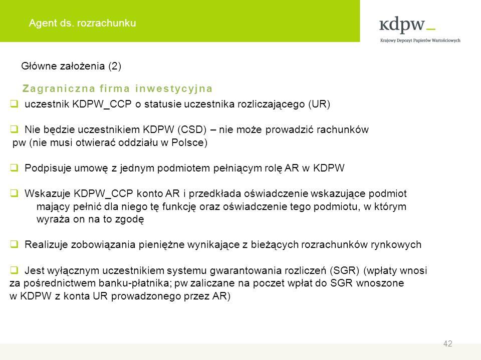 Agent ds. rozrachunku Główne założenia (2) Zagraniczna firma inwestycyjna. uczestnik KDPW_CCP o statusie uczestnika rozliczającego (UR)