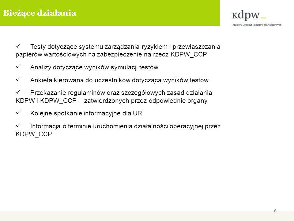 Bieżące działania Testy dotyczące systemu zarządzania ryzykiem i przewłaszczania papierów wartościowych na zabezpieczenie na rzecz KDPW_CCP.