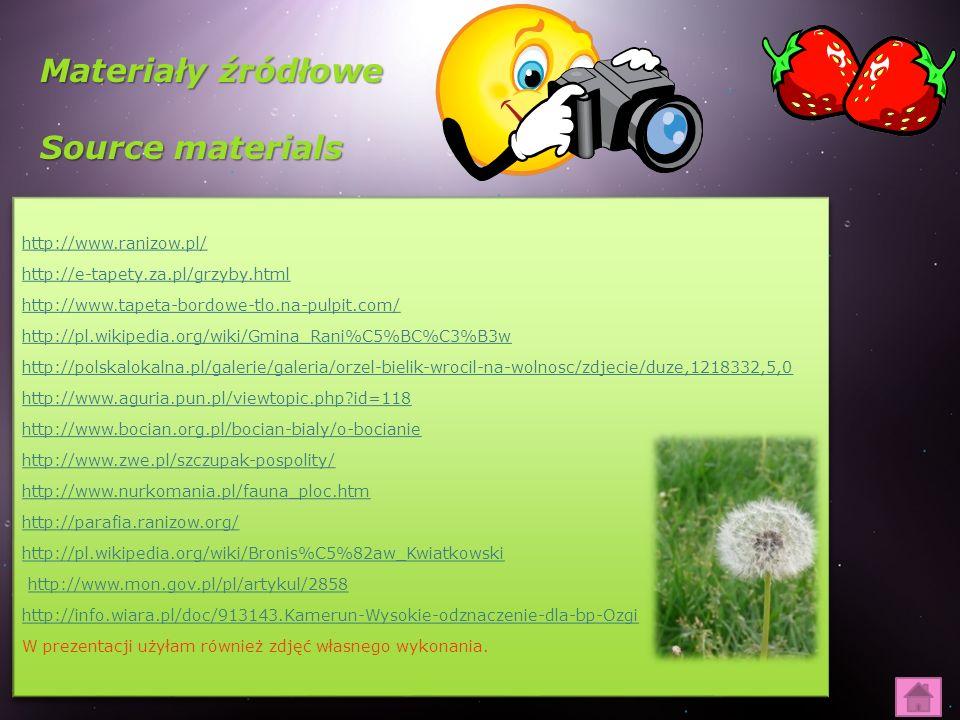 Materiały źródłowe Source materials