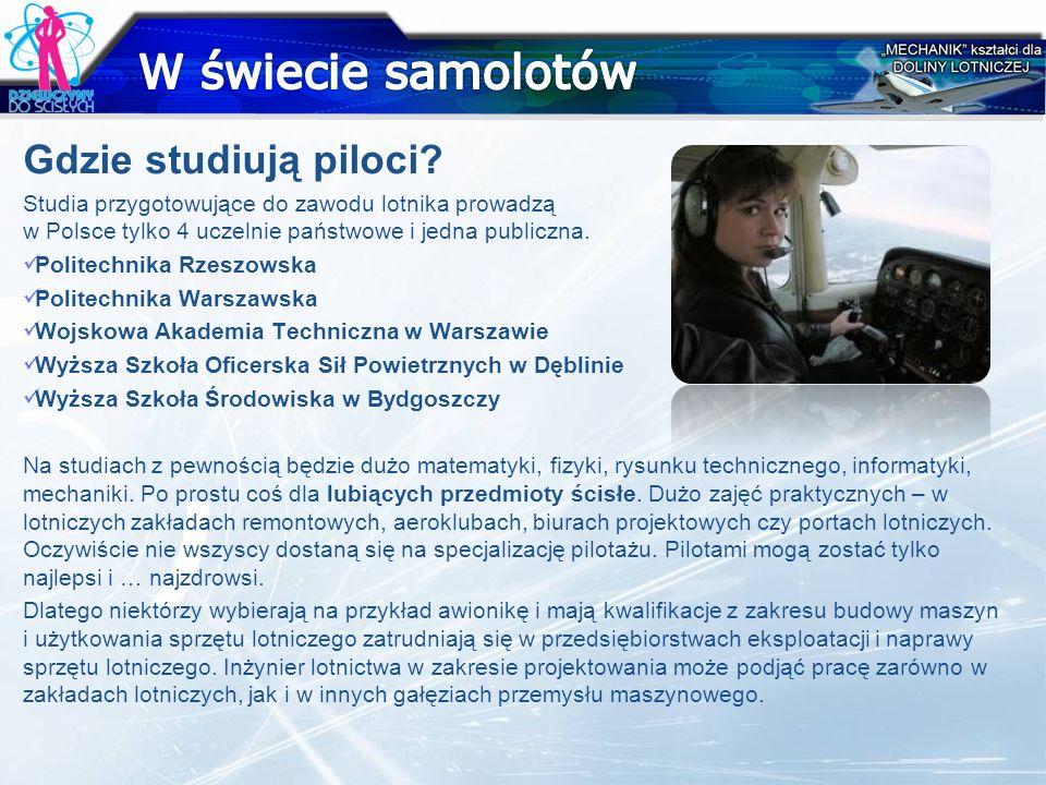 W świecie samolotów Gdzie studiują piloci