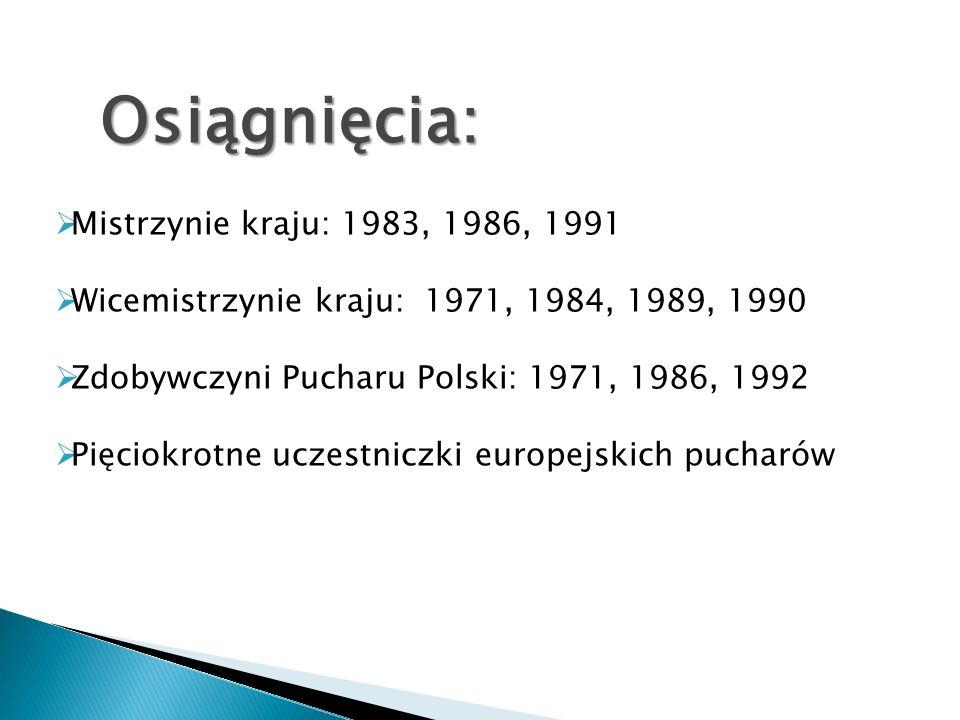 Osiągnięcia: Mistrzynie kraju: 1983, 1986, 1991