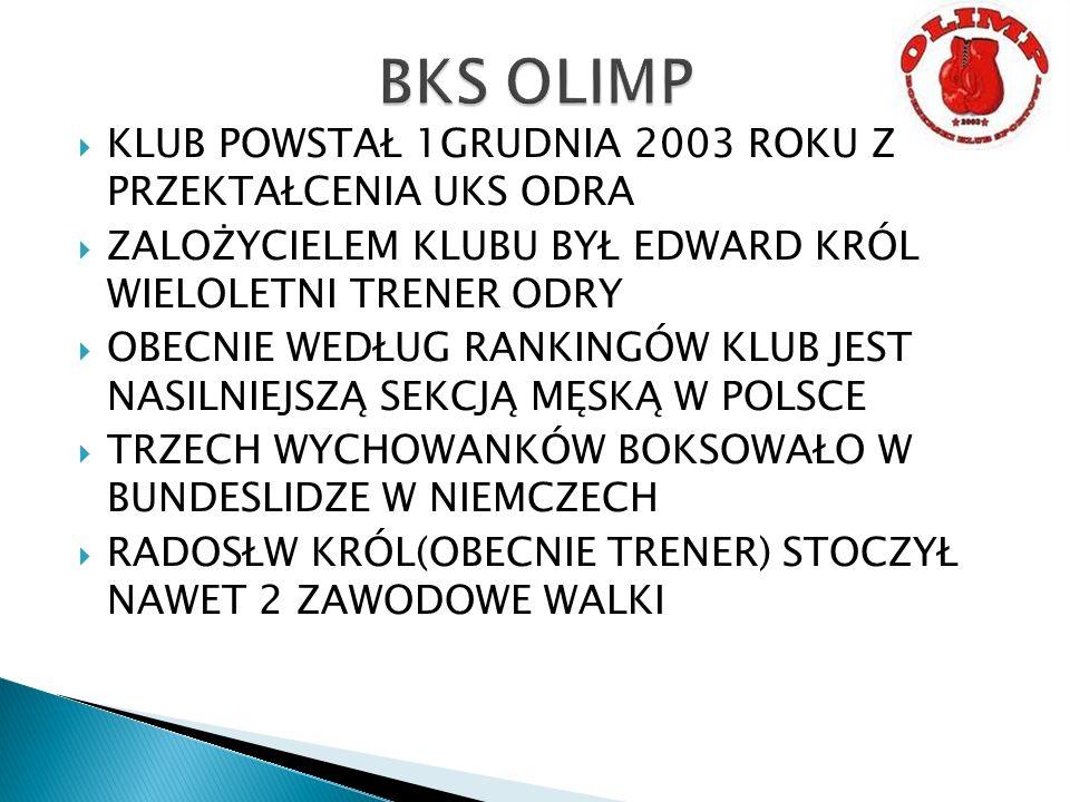 BKS OLIMP KLUB POWSTAŁ 1GRUDNIA 2003 ROKU Z PRZEKTAŁCENIA UKS ODRA