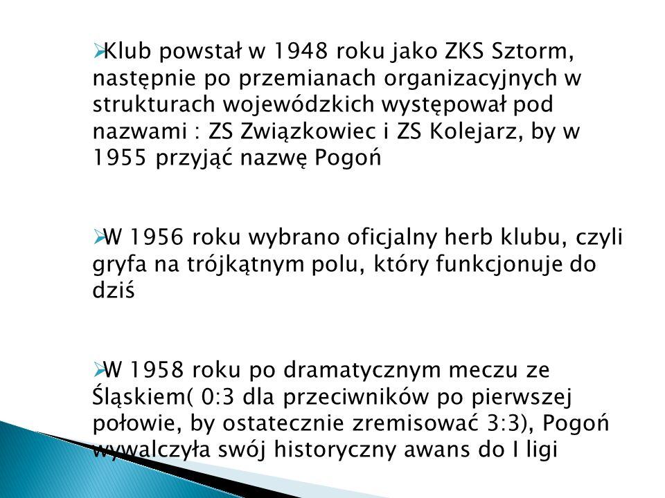 Klub powstał w 1948 roku jako ZKS Sztorm, następnie po przemianach organizacyjnych w strukturach wojewódzkich występował pod nazwami : ZS Związkowiec i ZS Kolejarz, by w 1955 przyjąć nazwę Pogoń