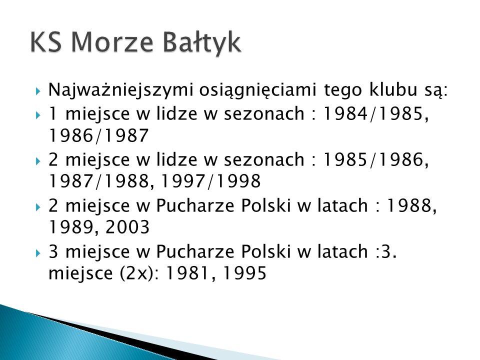 KS Morze Bałtyk Najważniejszymi osiągnięciami tego klubu są: