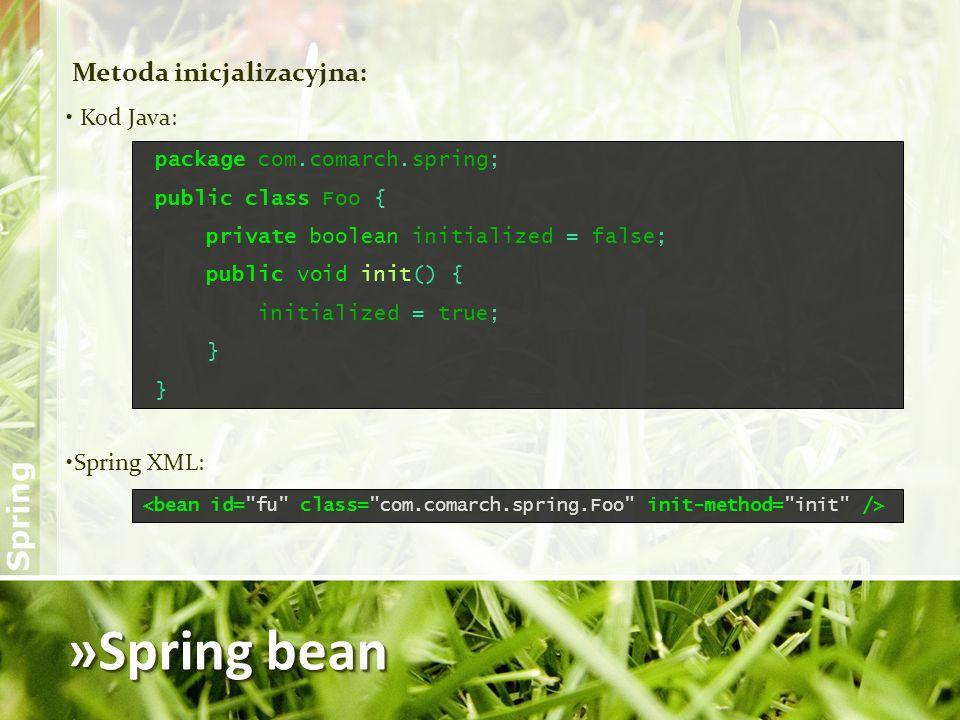 »Spring bean Metoda inicjalizacyjna: Kod Java: Spring XML: