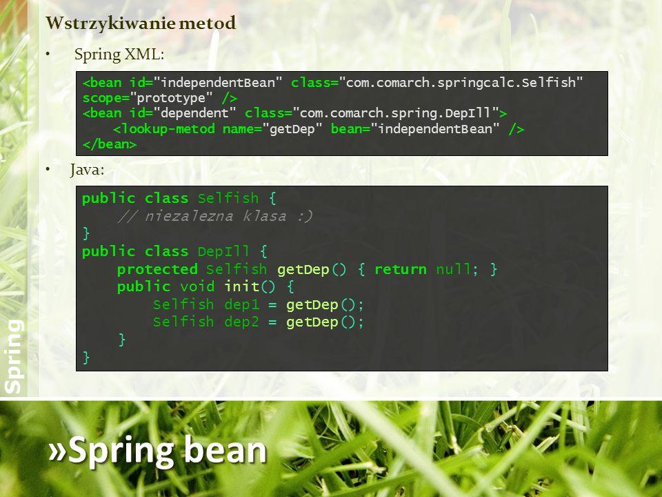 »Spring bean Wstrzykiwanie metod Spring XML: Java: