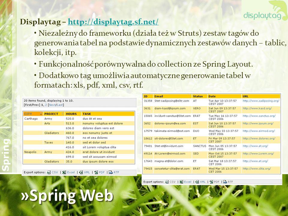 »Spring Web Displaytag – http://displaytag.sf.net/
