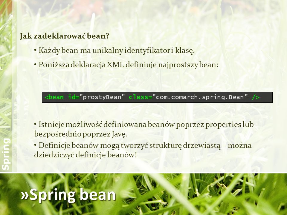 »Spring bean Jak zadeklarować bean