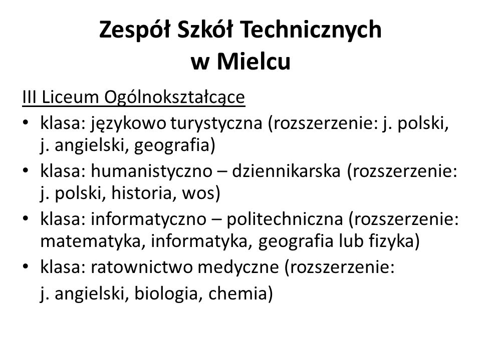 Zespół Szkół Technicznych w Mielcu