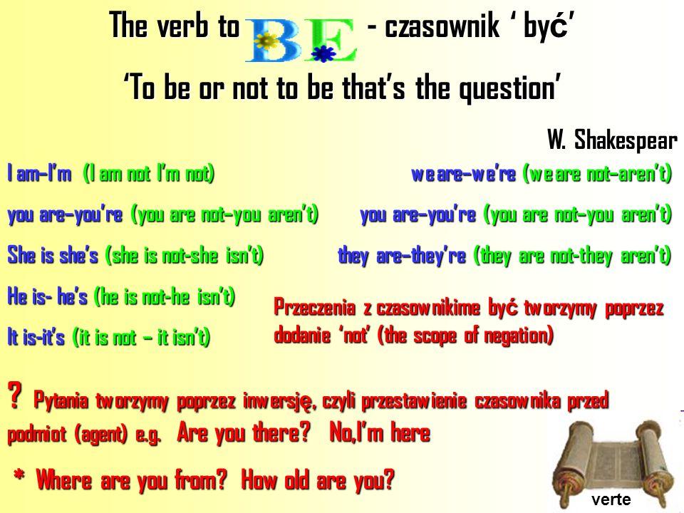 The verb to - czasownik ' być'
