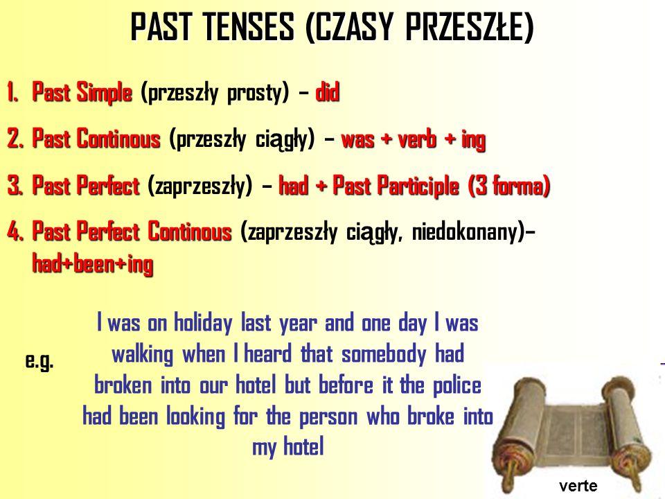 PAST TENSES (CZASY PRZESZŁE)