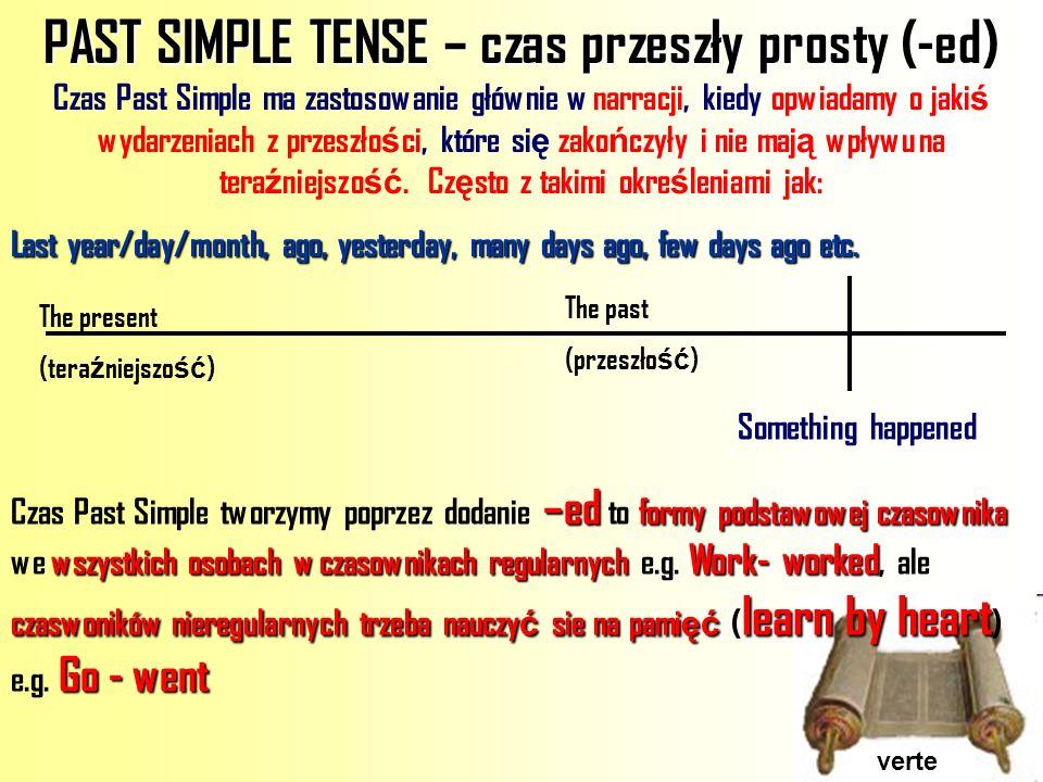PAST SIMPLE TENSE – czas przeszły prosty (-ed)