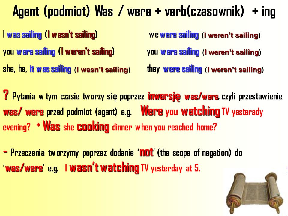 Agent (podmiot) Was / were + verb(czasownik) + ing