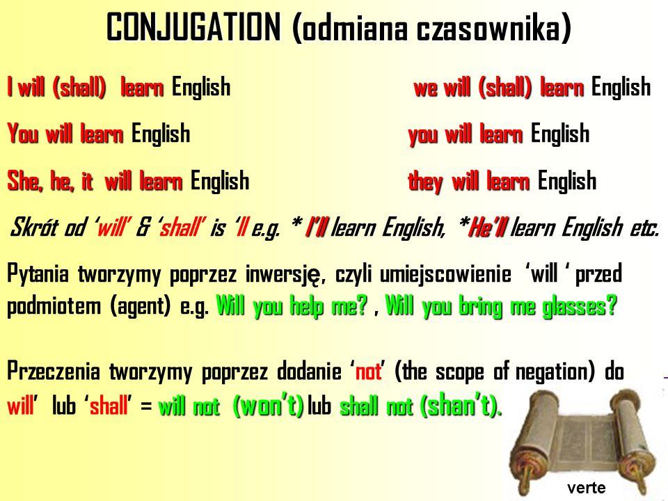 CONJUGATION (odmiana czasownika)
