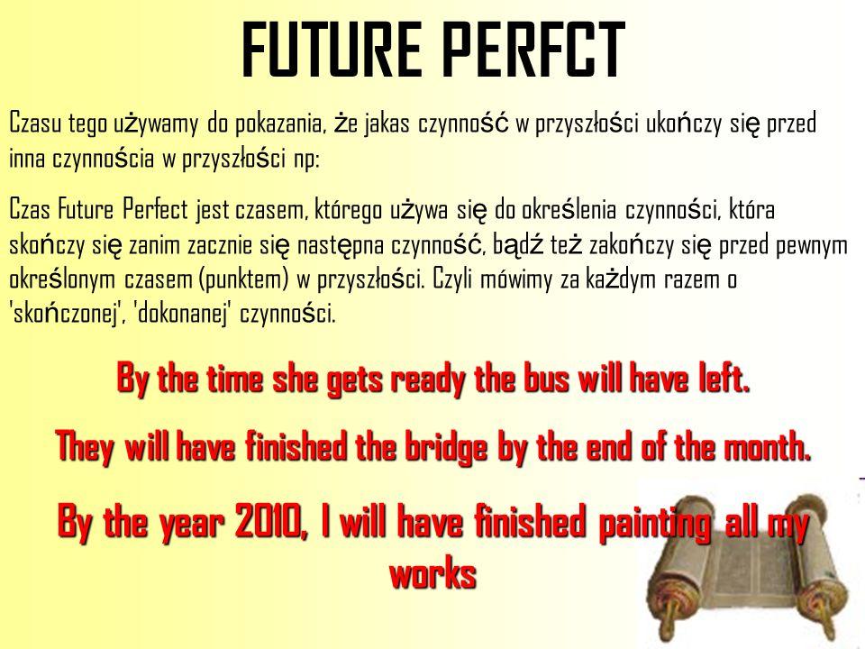 FUTURE PERFCT Czasu tego używamy do pokazania, że jakas czynność w przyszłości ukończy się przed inna czynnościa w przyszłości np: