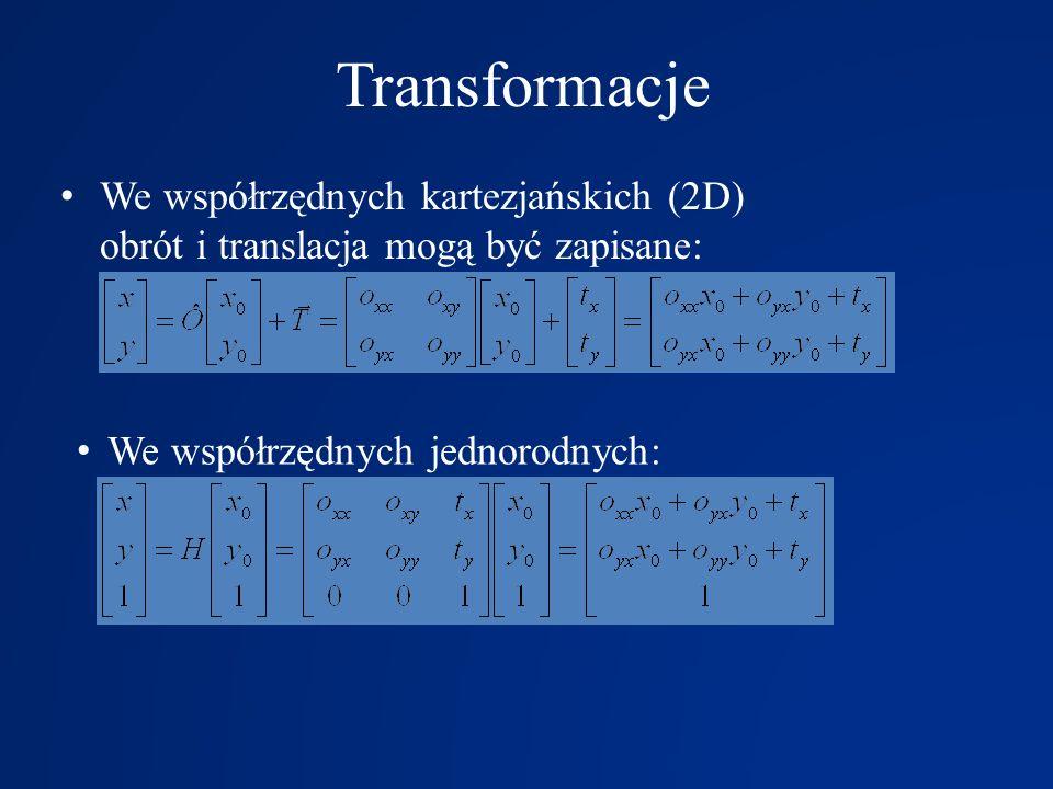 TransformacjeWe współrzędnych kartezjańskich (2D) obrót i translacja mogą być zapisane: We współrzędnych jednorodnych: