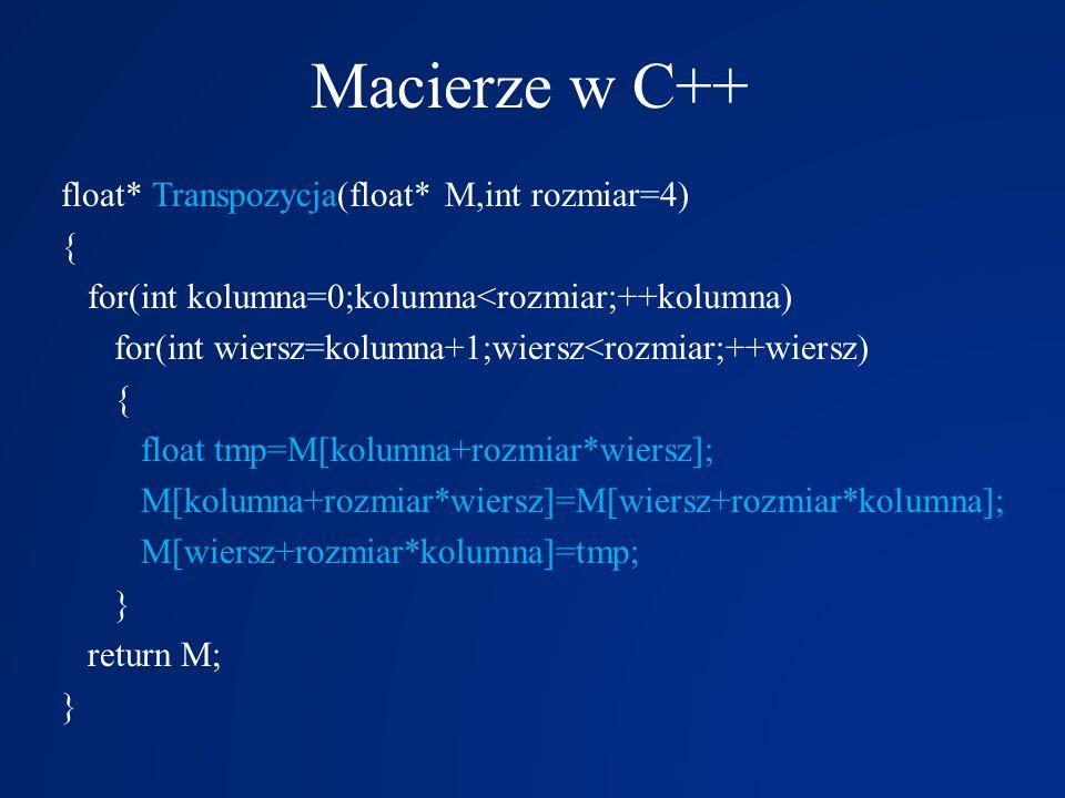 Macierze w C++