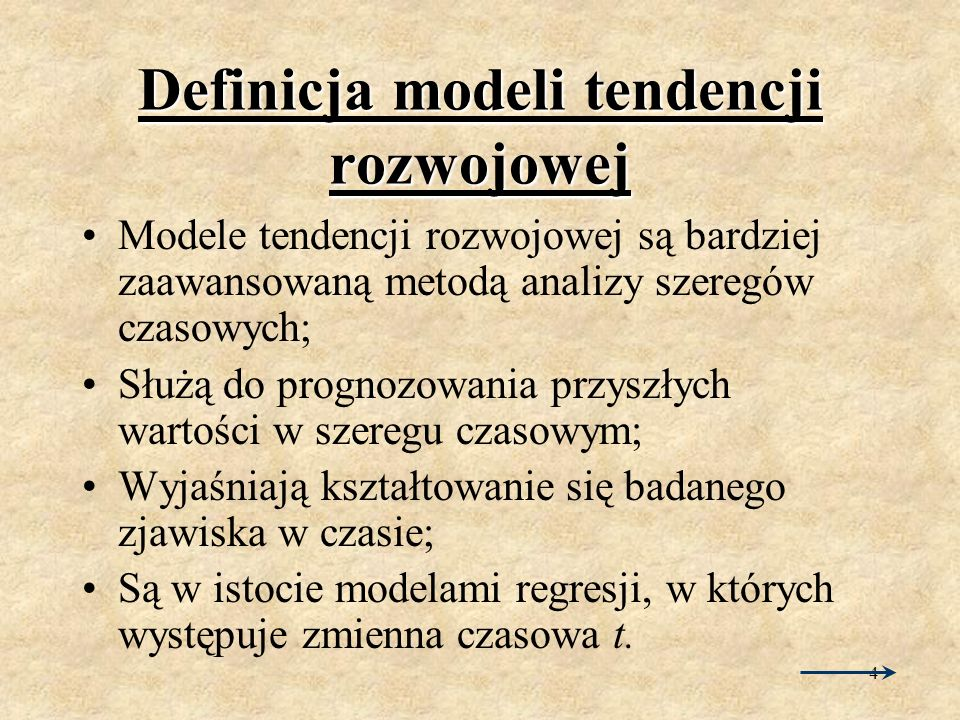 Definicja modeli tendencji rozwojowej