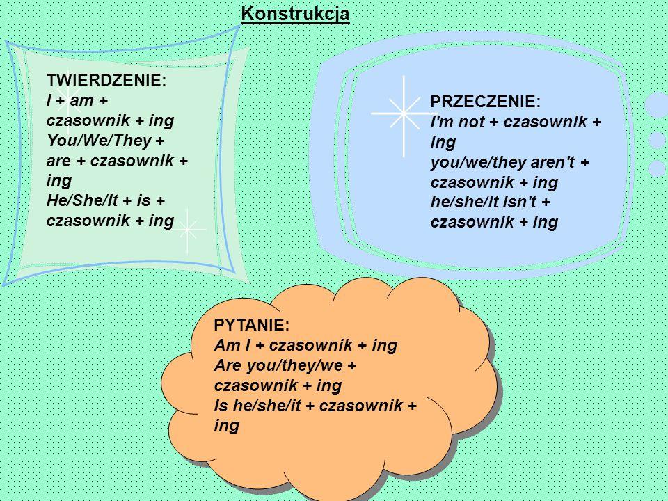 Konstrukcja TWIERDZENIE: I + am + czasownik + ing You/We/They + are + czasownik + ing He/She/It + is + czasownik + ing.