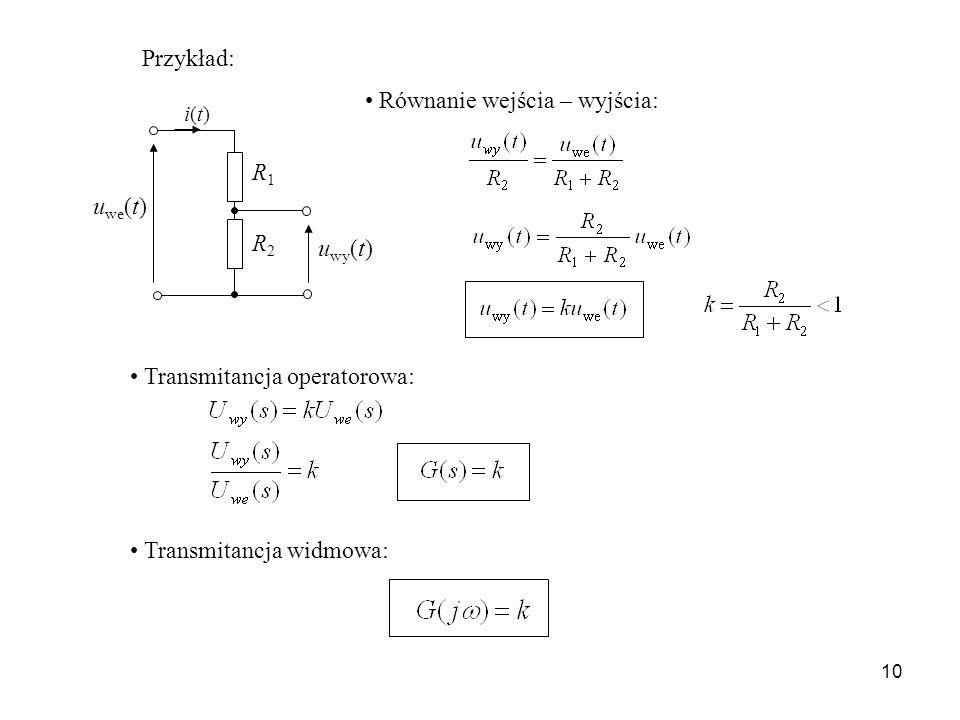 Równanie wejścia – wyjścia:
