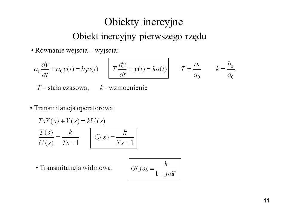 Obiekty inercyjne Obiekt inercyjny pierwszego rzędu