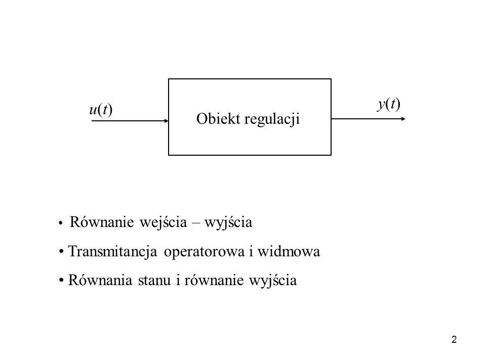 Transmitancja operatorowa i widmowa Równania stanu i równanie wyjścia