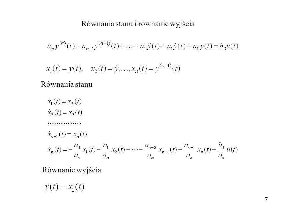 Równania stanu i równanie wyjścia