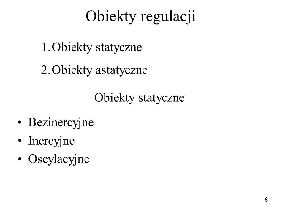 Obiekty regulacji Obiekty statyczne Obiekty astatyczne