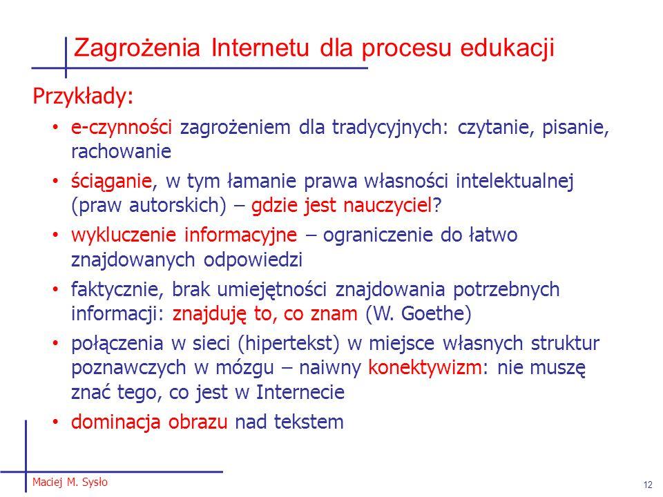 Zagrożenia Internetu dla procesu edukacji