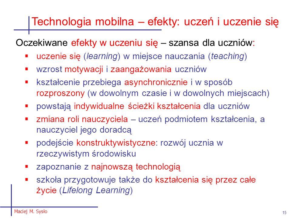 Technologia mobilna – efekty: uczeń i uczenie się