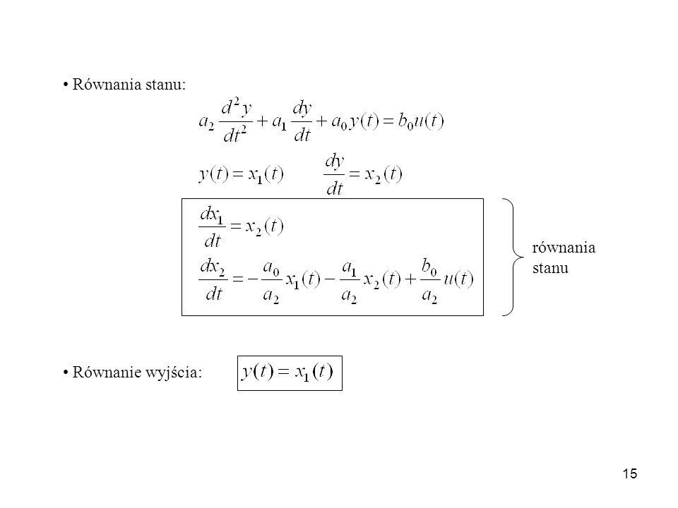 Równania stanu: równania stanu Równanie wyjścia: