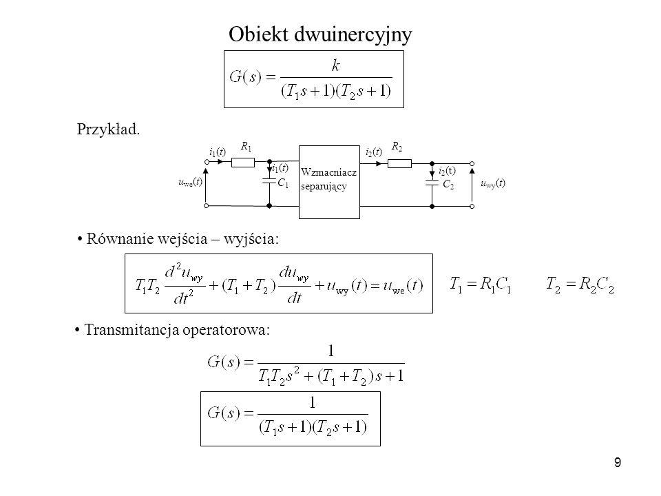 Obiekt dwuinercyjny Przykład. Równanie wejścia – wyjścia: