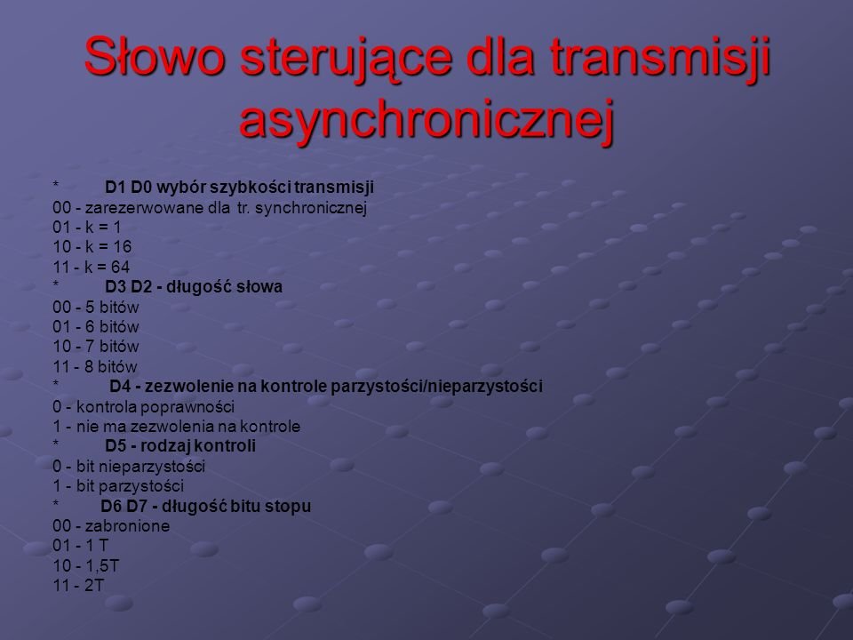 Słowo sterujące dla transmisji asynchronicznej