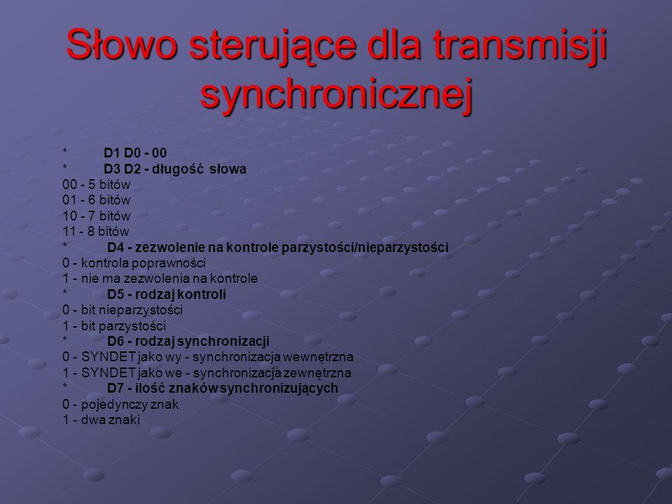 Słowo sterujące dla transmisji synchronicznej