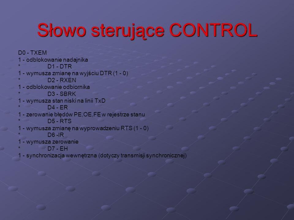Słowo sterujące CONTROL