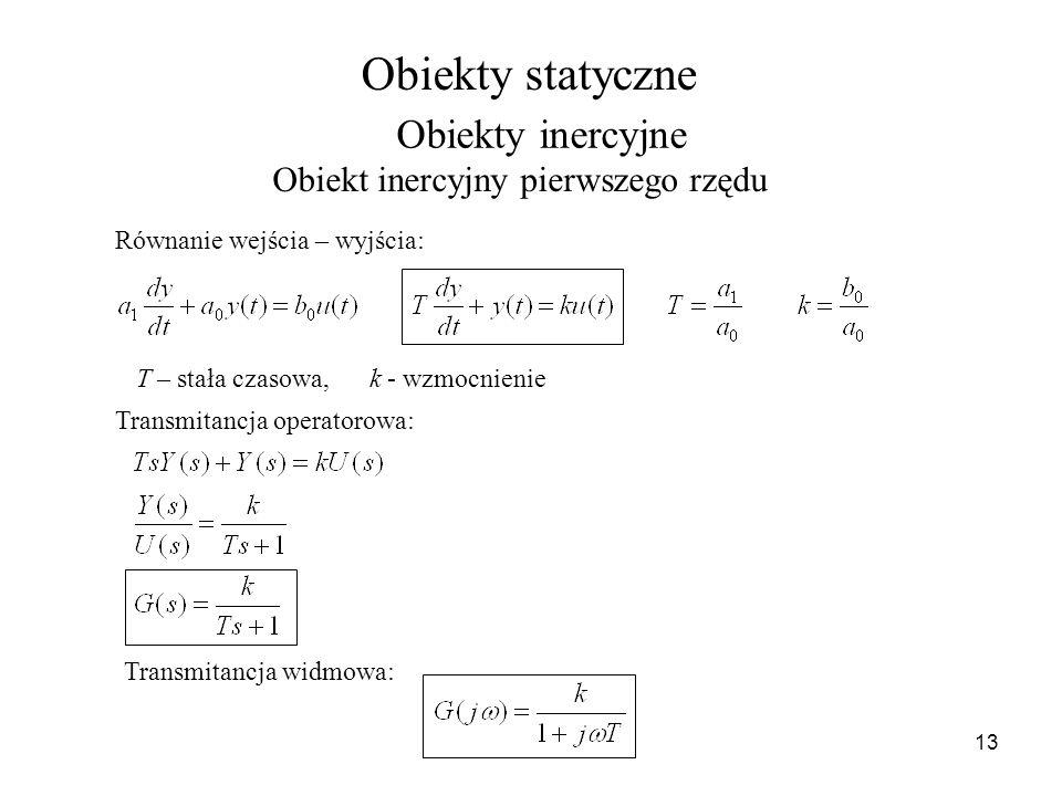 Obiekty statyczne Obiekty inercyjne Obiekt inercyjny pierwszego rzędu