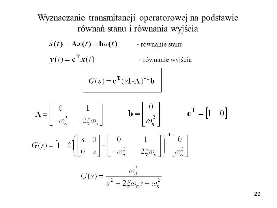 Wyznaczanie transmitancji operatorowej na podstawie równań stanu i równania wyjścia