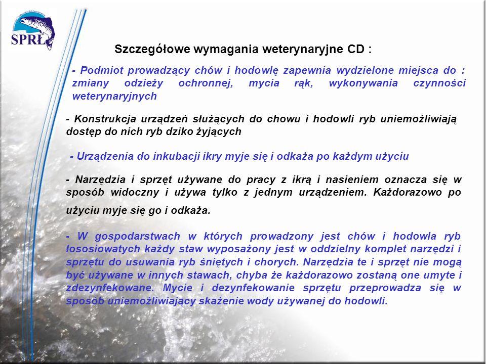 Szczegółowe wymagania weterynaryjne CD :