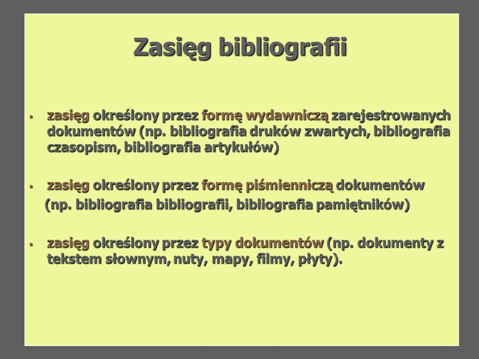 Zasięg bibliografii