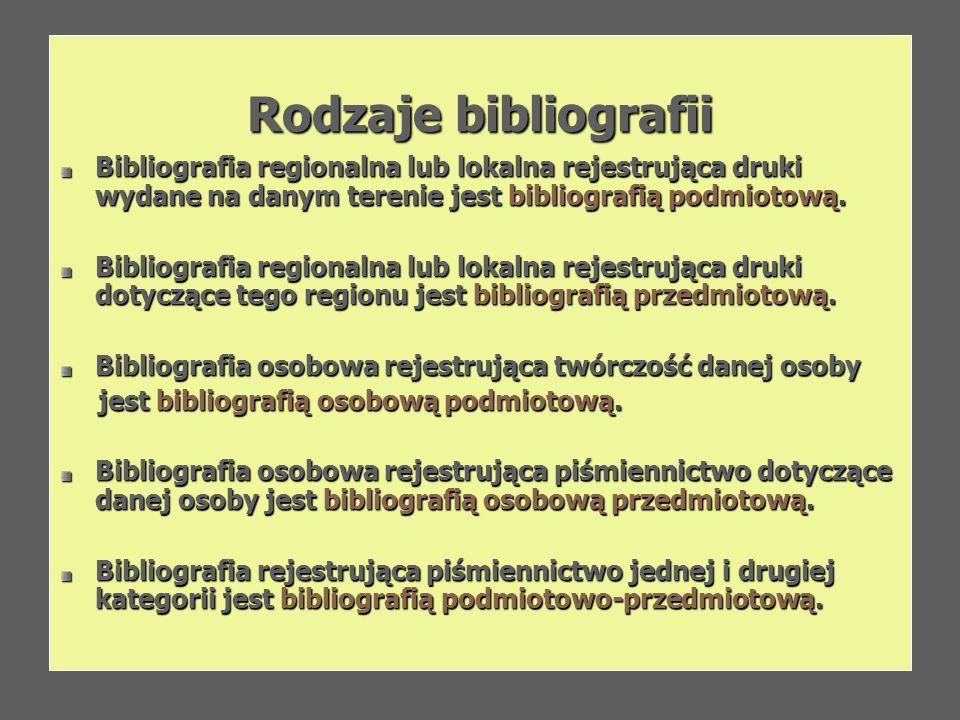 Rodzaje bibliografii Bibliografia regionalna lub lokalna rejestrująca druki wydane na danym terenie jest bibliografią podmiotową.
