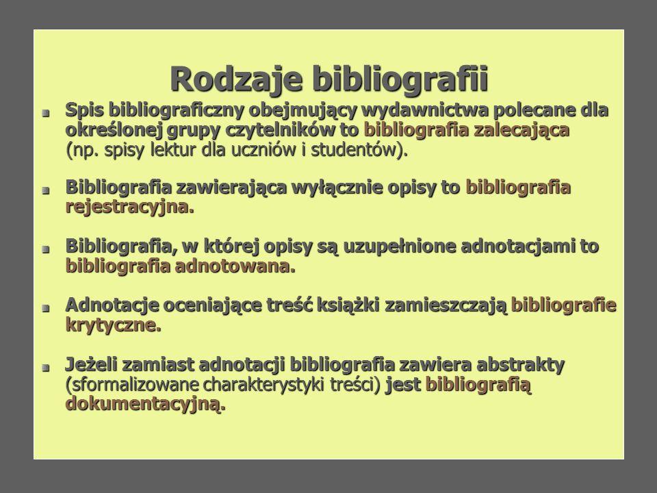 Rodzaje bibliografii Spis bibliograficzny obejmujący wydawnictwa polecane dla określonej grupy czytelników to bibliografia zalecająca.
