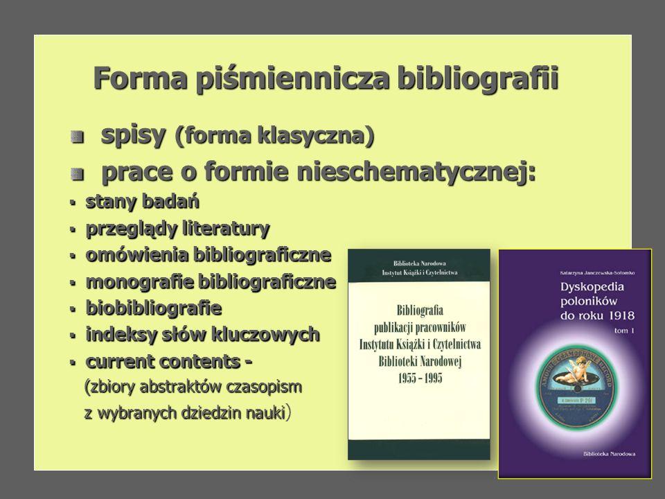 Forma piśmiennicza bibliografii