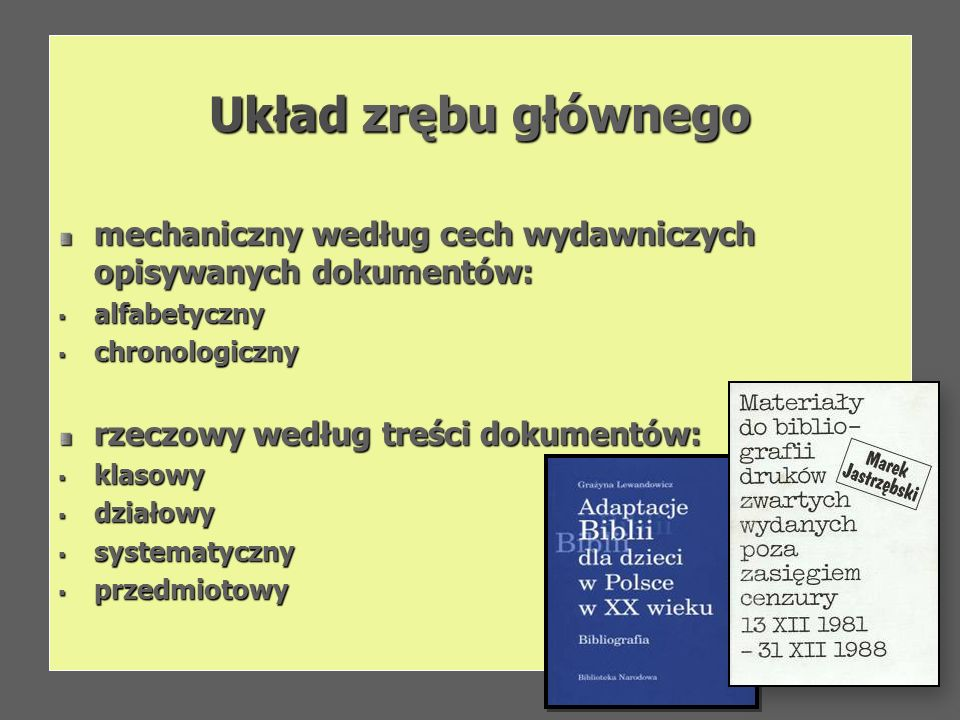 Układ zrębu głównegomechaniczny według cech wydawniczych opisywanych dokumentów: alfabetyczny. chronologiczny.
