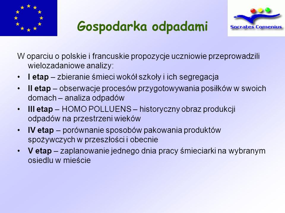 Gospodarka odpadami W oparciu o polskie i francuskie propozycje uczniowie przeprowadzili wielozadaniowe analizy: